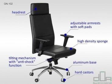 Scaun de birou rotativ, ergonomic, pivotant GN-102 Negru