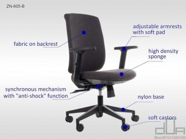 Scaun de birou rotativ, ergonomic, pivotant ZN-605-B Antracit