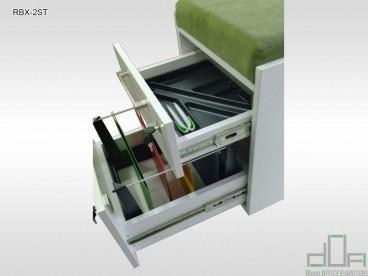 Rollbox birou tapitat cu doua sertare, fete aplicate, uni