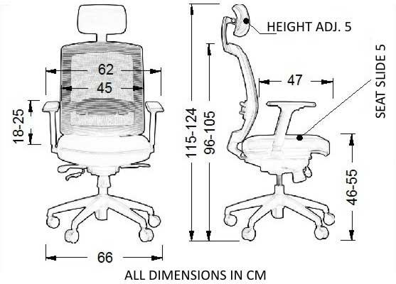 Scaun rotativ, rabatabil de birou -GN-301-A - dimensiuni