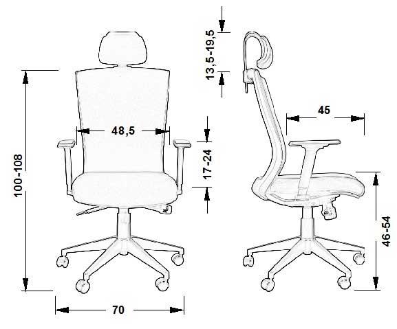 dimensiuni scaun rotativ HG-0004F negru
