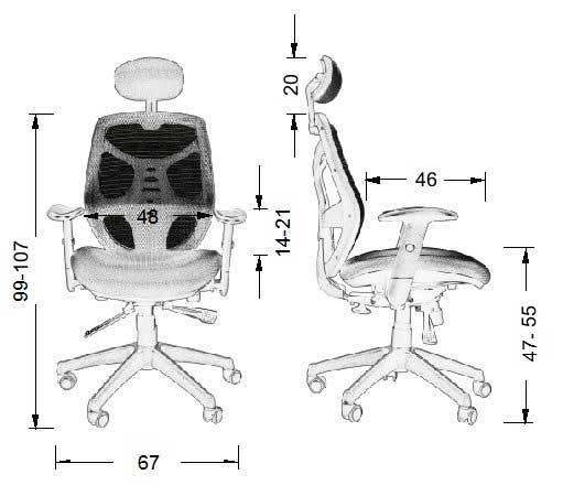 Scaun ergonomic office, rotativ KB-8905 - dimensiuni fizice