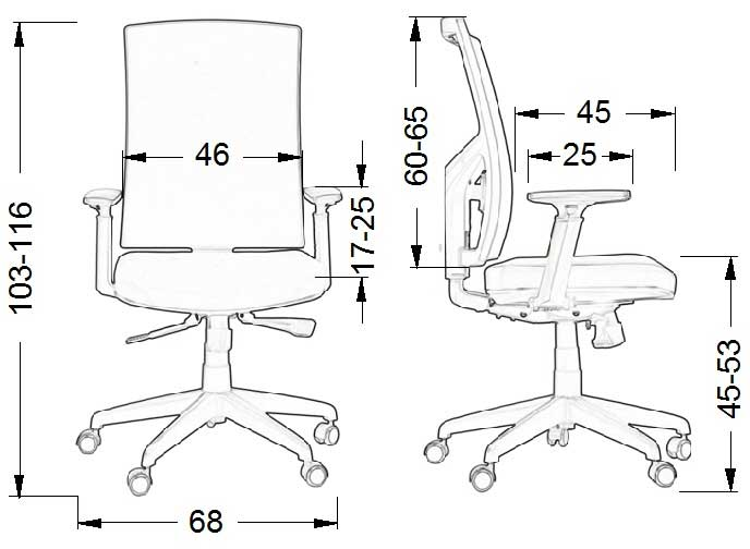 Scaun ergonomic office, rotativ KB-8922B - dimensiuni fizice
