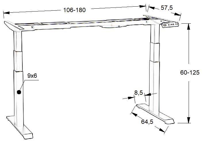 Dimensiuni cadrul metalic birou reglabil pe inaltime electric, 2 motoare SHB320-D650-F/B