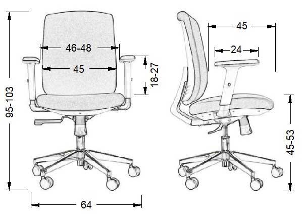 Dimensiuni Scaun de birou rotativ, ergonomic, pivotant ZN-605-W