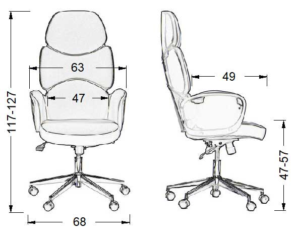 Scaun de birou BEDFORD BED-BK-206-54-CH-M - dimensiuni