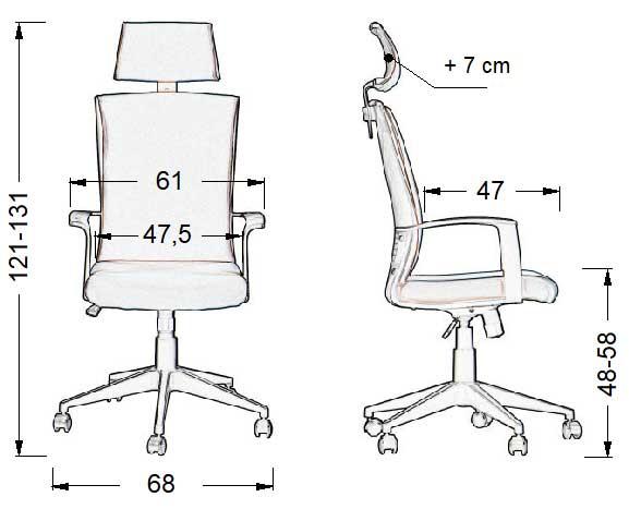 Scaun de birou, ergonomic CLAYTON CLA-BK-56-BK-T - dimensiuni