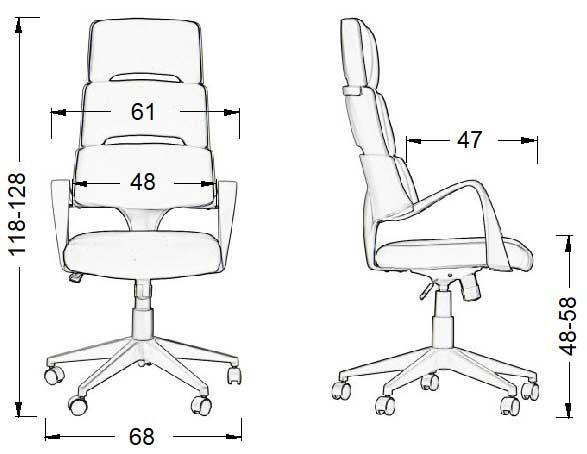 scaun de birou rotativ, pivotant LORETTO GY-54-GY-T - dimensiuni